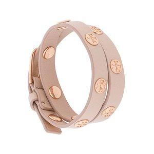 Tory Burch double-wrap logo stud bracelet in Blush